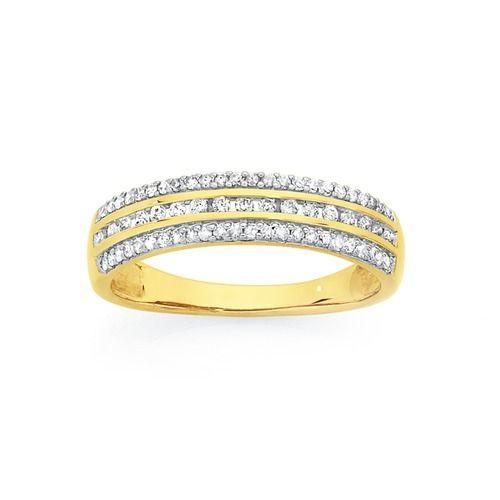 9ct Gold Diamond Three Row Dress Ring Total Diamond Weight = 0.25ct