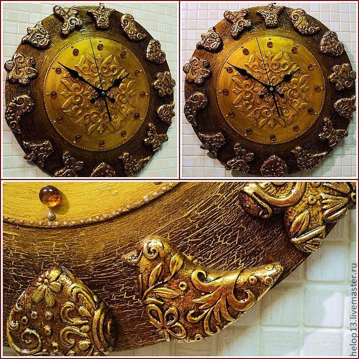 """Купить Часы """"Золото и шоколад"""" (большие) - часы настенные, этно, золото, часы…"""