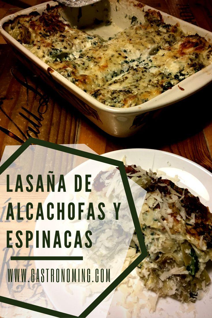 Lasaña de alcachofas y espinacas
