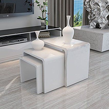 uenjoy nest of tables white gloss coffee table side table living room - Side Tables For Living Room