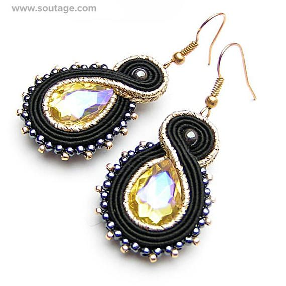 Black-GoldTrifle - this small, elegant earrings with Swarovski crystals are best choice for work day or for evening party. This jewelry piece can be also wonderfull gift for special woman. Using materials: glass beads, soutache, viscose, Swarovski crystals, hematite stones Length of