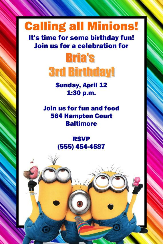 48 best despicable me party images on pinterest | birthday party, Party invitations