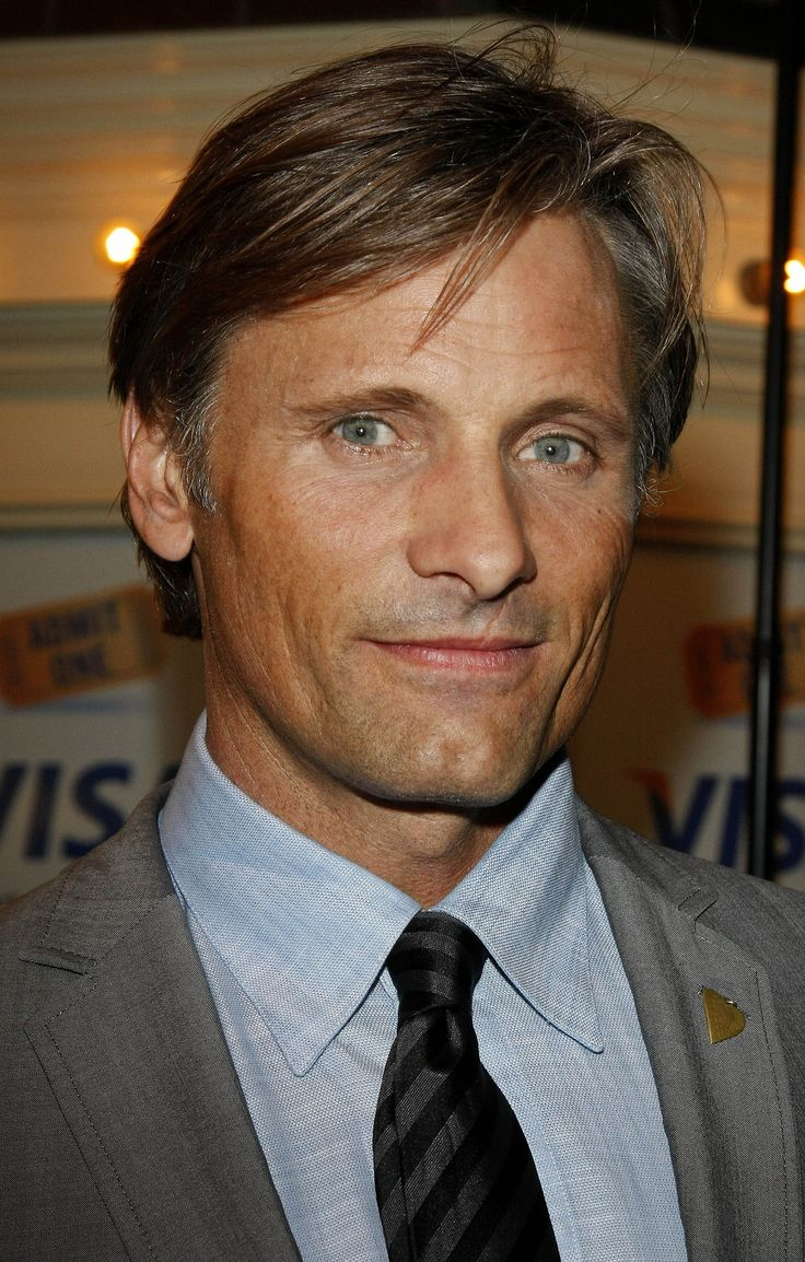 Danish actor Viggo Mortensen (b. 1958), I don't care if he's 60, this guy will always be my dream guy! A real man with the thick neck, cleft chin, etc
