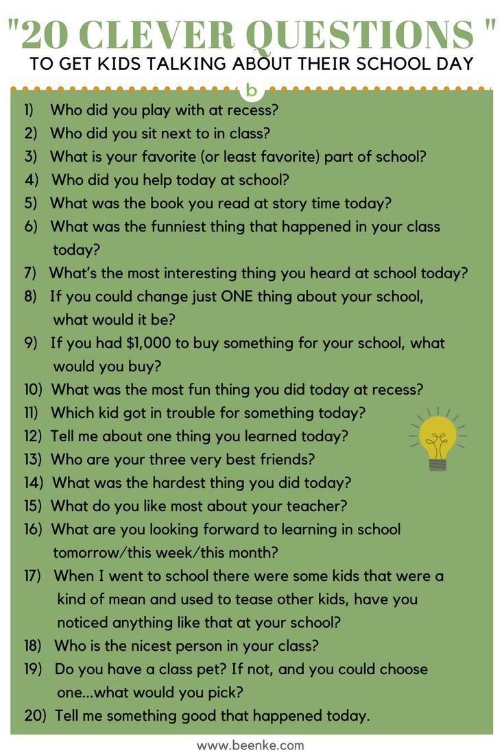 Getting kids to open up about their day can be tough. Here's 20 clever questions to get your child talking about their school day.  Click to read more...#beenke #parenting | conversation starters, fun