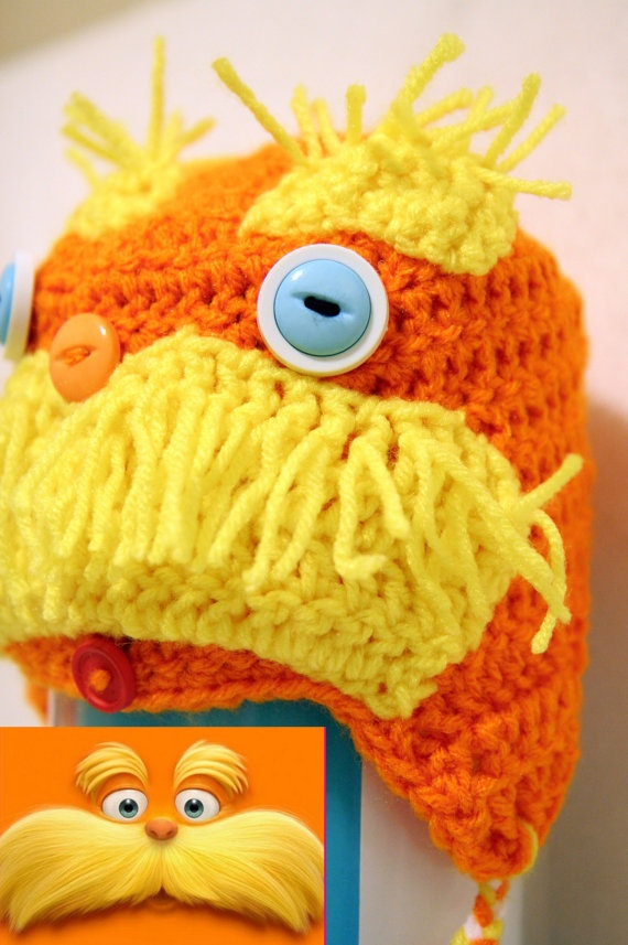 Dr Suess Lorax Crocheted Earflap Hat by BeforeItWithers on Etsy, $20.00