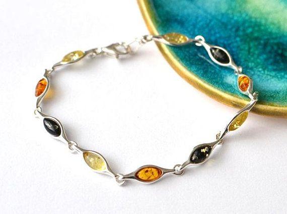 Colorful Amber Bracelet, amber link bracelet, amber silver bracelet, silver amber bracelet, amber jewelry, minimalist bracelet