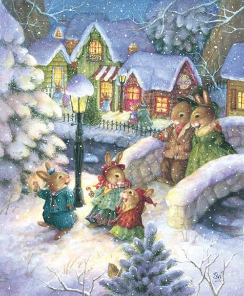 Happy Bunny Family in the snow at Christmas!