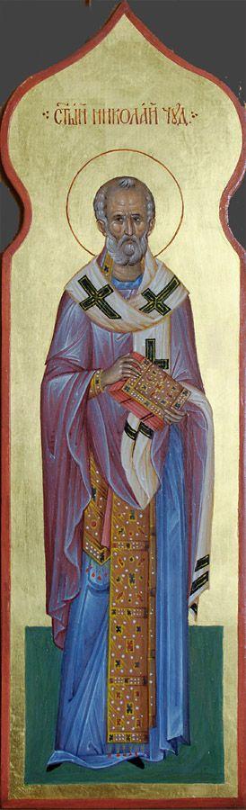 Святитель Николай Чудотворец, икона для столбика к иконостасу