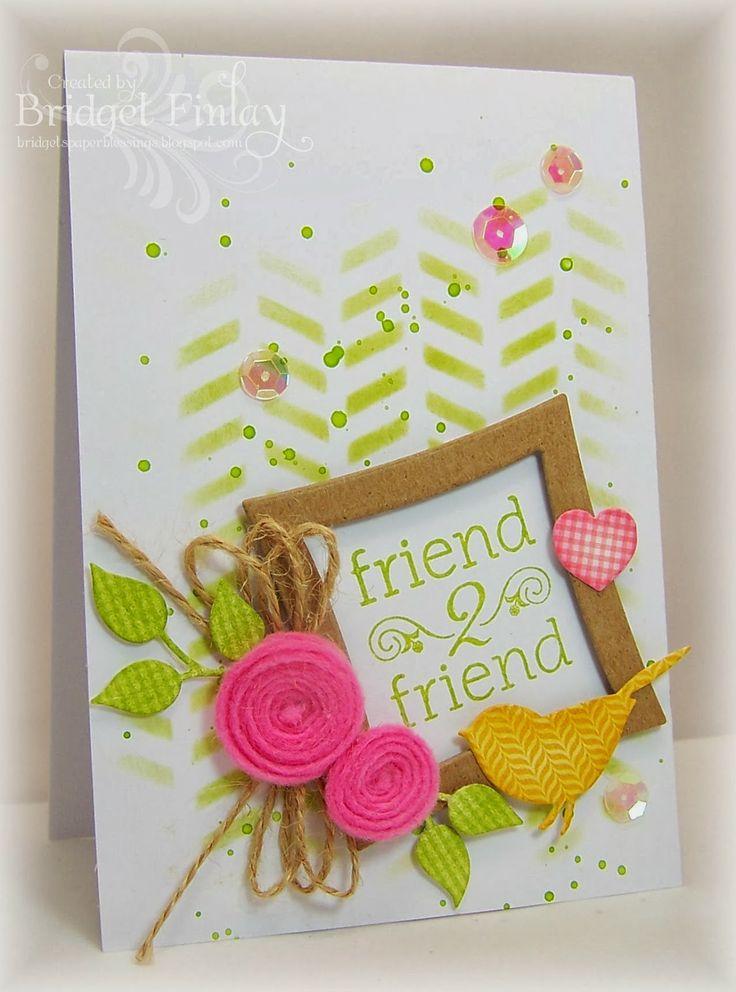 Use all SU! - Gorgeous Grunge for background.  Big Shot flower die or Flower Shop stamp set; Bird Punch for bird & leaf stems; Square Framelits  set (2  sizes) for frame; Linen thread