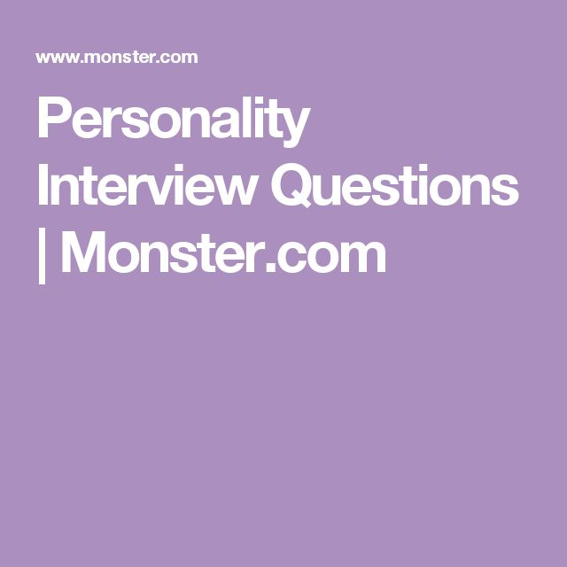 interview questions personality