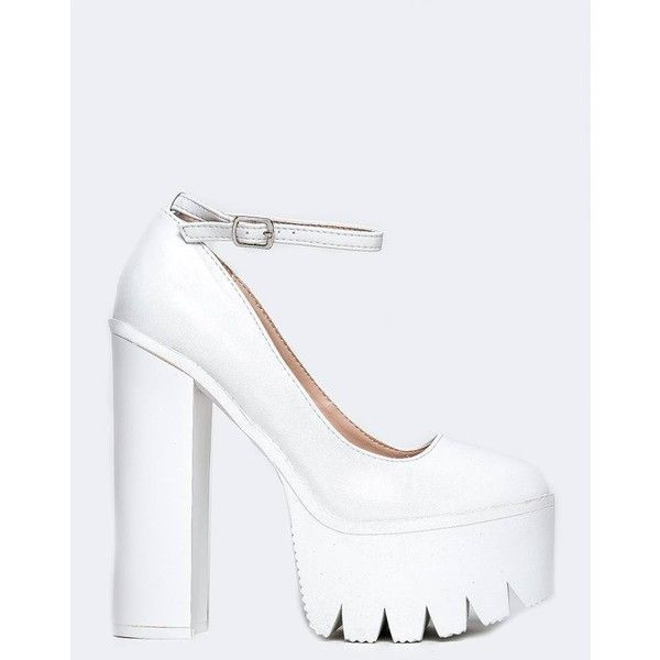 IGGY-14 PUMP ($39) ❤ liked on Polyvore featuring shoes, pumps, white, wide heel pumps, platform pumps, white shoes, ankle strap platform pumps and chunky heel platform shoes