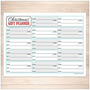 Printable PDF page that is used to track the gifts or presents you plan on buying for Christmas. This sheet is designed in a grid layout with a lines in each section for the name of the person you're buying for, the gift you want to buy, the price, and an applicable note, such as where to buy it or if you have a coupon. There is also a little spot in the corner where you can put a check-mark indicating you have purchased the gift.