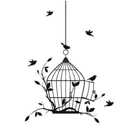 Small birds flying near the bird cage.