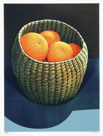 'Oranges in a Seagrass Basket' by Michael Smither. (Original oil painting 1979.)