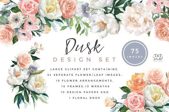 Flower Watercolor Clipart - Dusk by Twigs and Twine on @creativemarket