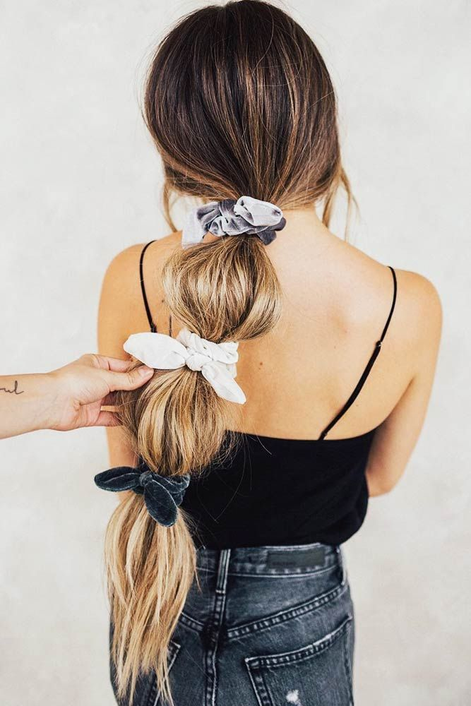 Bubble Pony #updo #ponytail #scrunchies ❤️ Scrunchies will never lose their popularity. Moreover, they're an irreplaceable part of runway looks today. Check out our collection of awesome ties and cute hairstyles to see how to wear it now: velvet ties like in the 90s and modern hair holder ideas are here! ❤️ #lovehairstyles #hair #hairstyles #haircuts