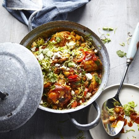 Joe Wicks' Chicken tagine with spiced Brussels & feta is a new take on classic Christmas flavours and it's super healthy and really easy too.