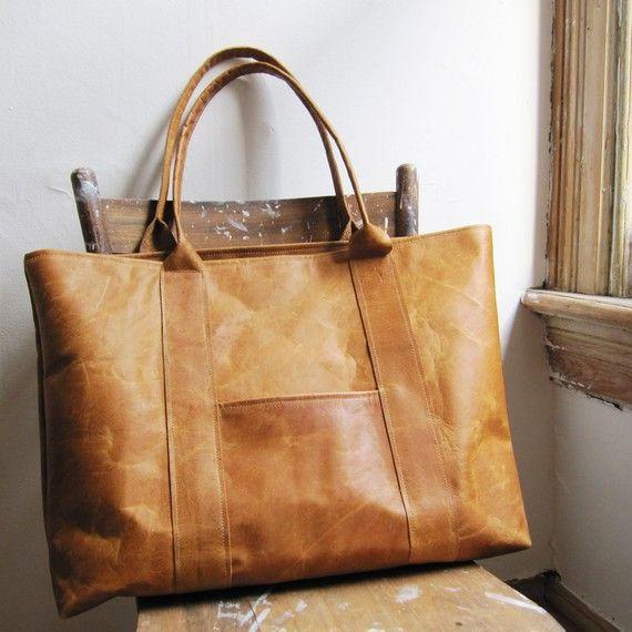Leather weekender tote