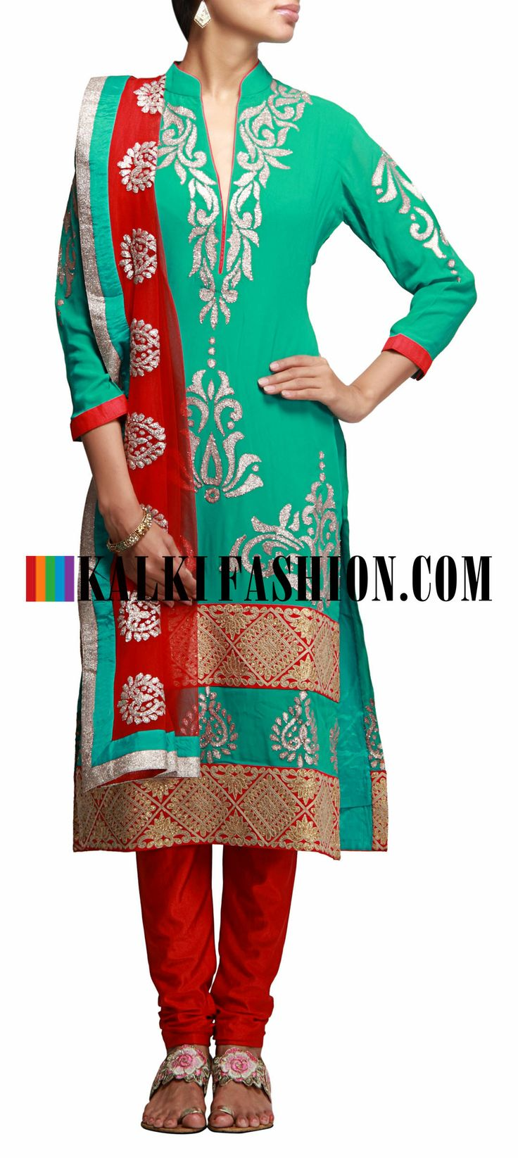 Buy Online from the link below. We ship worldwide (Free Shipping over US$100) http://www.kalkifashion.com/a-line-suit-in-turq-with-applique-work.html A- line suit in turq with applique work