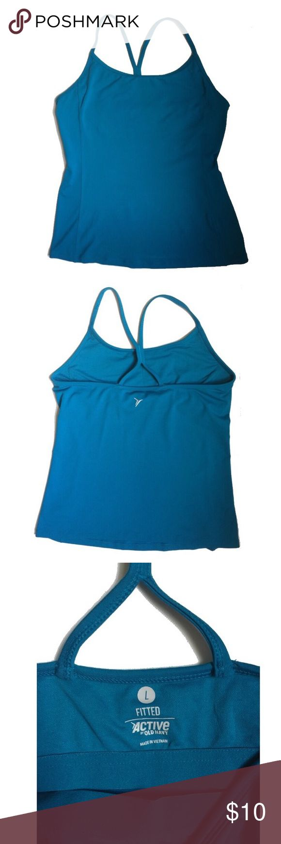Old Navy | Fitness Racerback  | Aqua | NWOT | Sz L Size large, fits true. Built in bra, camisole type of fitness top with racerback style back. NWOT. Aqua blue Old Navy Tops