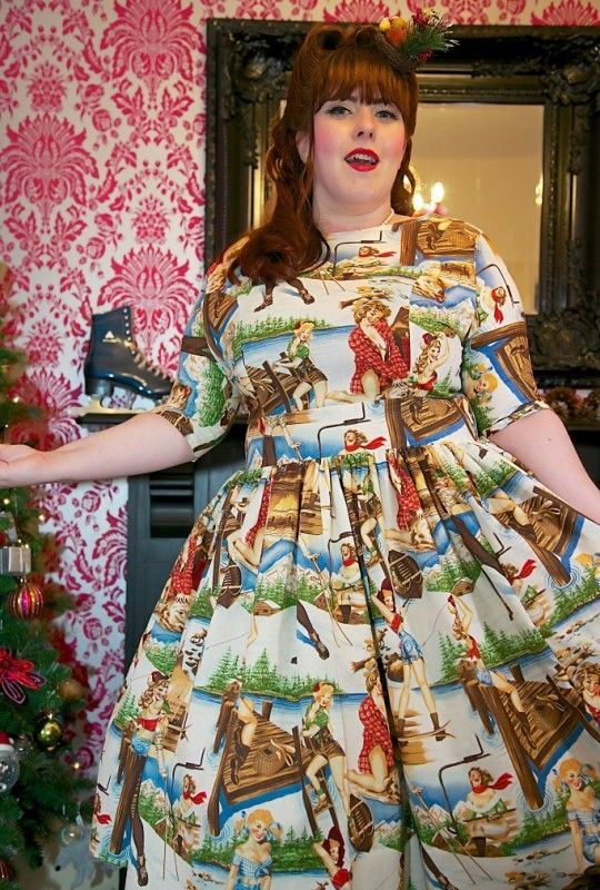 1950's Style Sleeved Ski Holiday Dress - Silly Old Sea DogSilly Old Sea Dog
