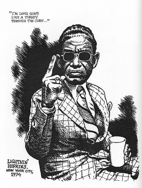 R. Crumb, Lightnin' Hopkins.  One of my favorite cartoonists, in a caricature of one of the greatest blues artists.