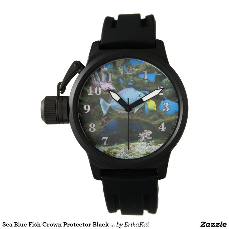 Sea Blue Fish Crown Protector Black Rubber Watch
