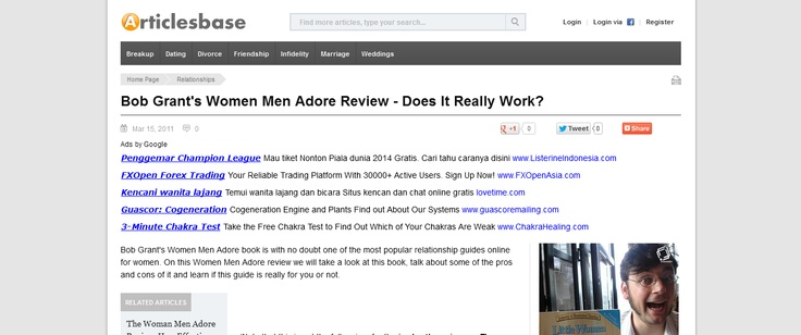 Bob Grants Women Men Adore Review - Does It Really Work? --> www.articlesbase.com/relationships-articles/bob-grants-women-men-adore-review-does-it-really-work-4412583.html