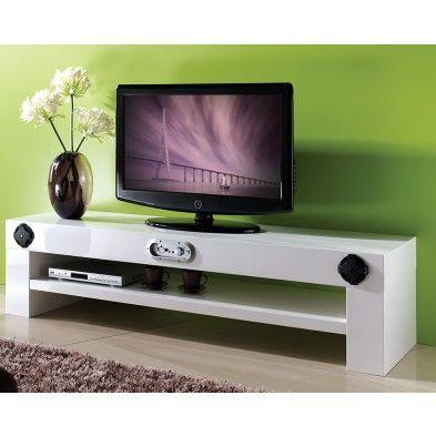 Meuble TV blanc avec chaine Hifi intégrée