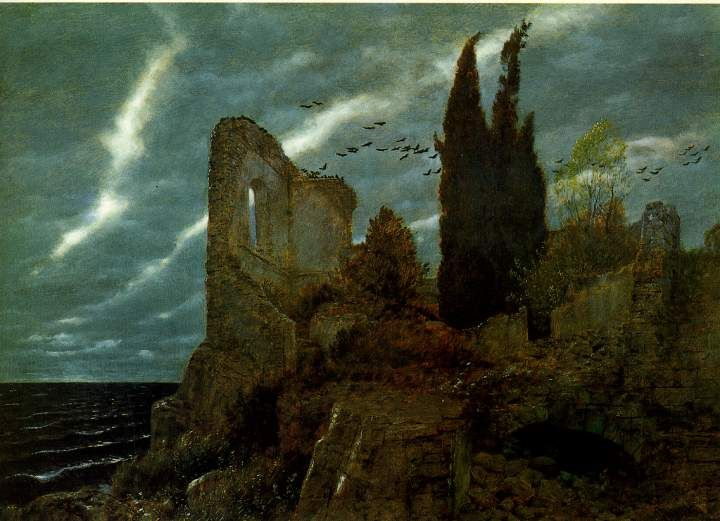 Arnold Böcklin (1827-1902);  Ruins by the Sea, 1880;  Oil on panel