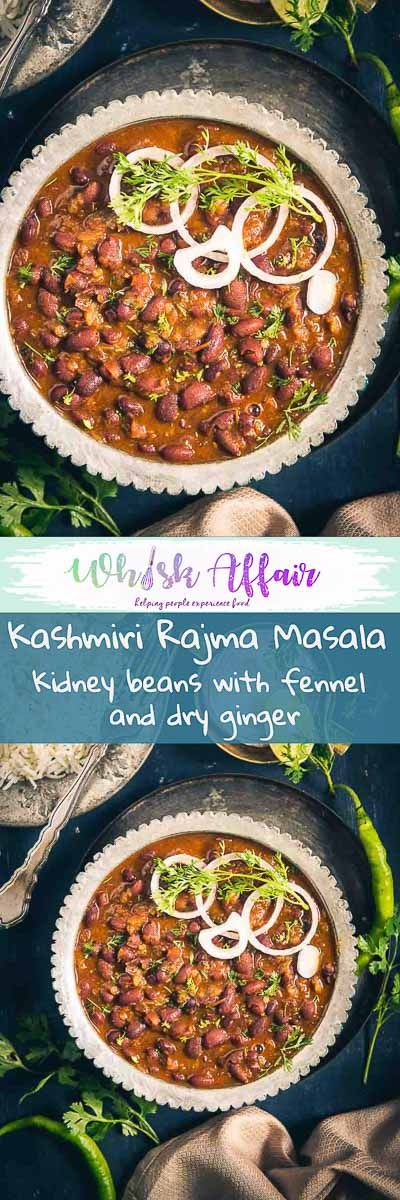 Kashmiri Rajma Masala is a delicious recipe with flavours from dry ginger powder and fennel powder. Here is how to make Authentic Kashmiri Rajma Recipe. #RajmaRecipe #VegetarianRecipe #IndianRecipes via @WhiskAffair
