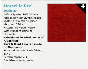 Marseille Red Velour http://www.madetomeasureblinds-uk.com/blog/2015/02/08/marsala-is-a-warm-choice-for-colour-of-the-year-but-use-sparingly-to-complement-your-room/
