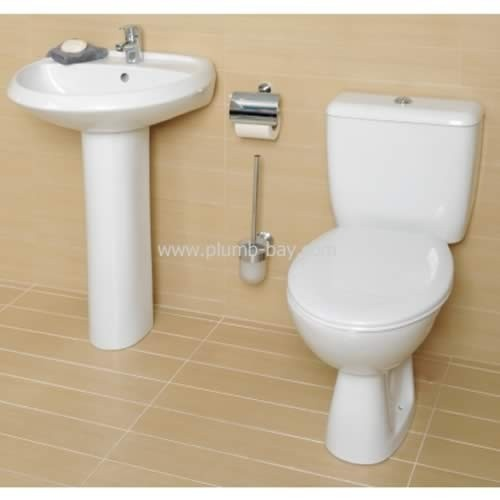 Roca Valor 4 Piece White Bathroom Suite 1 Tap Hole Including Seat - £179.99  http://www.plumb-bay.com/roca-valor-1th