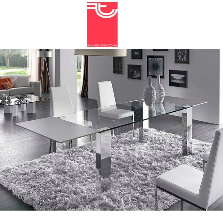 Mesa Comedor Cristal Transparente Extensible Tempo Plus Ramiro ...
