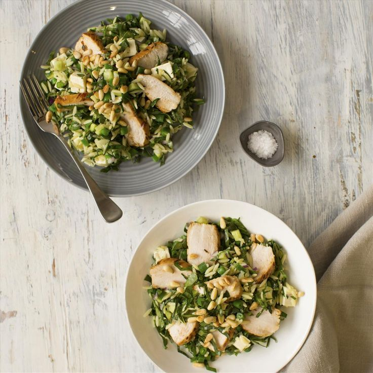 LEMON THYME CHICKEN WITH GREEN RISONI AND FETA SALAD