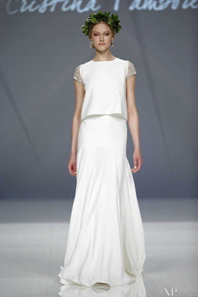 Vestido de novia blanco dos piezas de Cristina Tamborero.