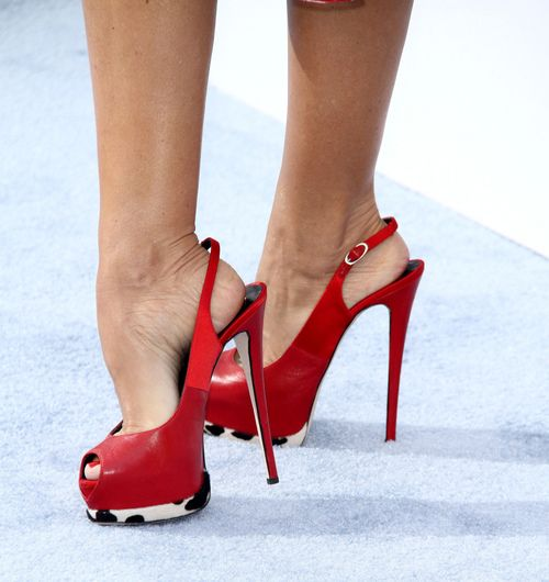 """red peep toe slingback pumps wear by Mollie King from The Saturdays on their """"Chasing The Saturdays USA promo"""""""