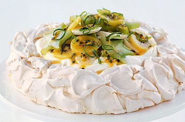 Pavlova - a meringue dessert named for the famous ballerina... originated in NZ... but the Aussies disagree...