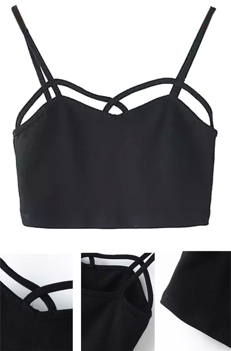 Black Strappy Sweetheart Tight Crop Top