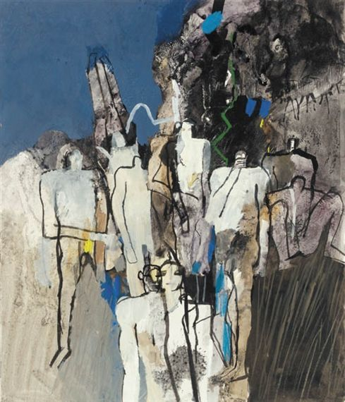 Keith Vaughan - Assembly of Figures III; Dimensions: 20.5 X 17.5 in (52.07 X 44.45 cm)