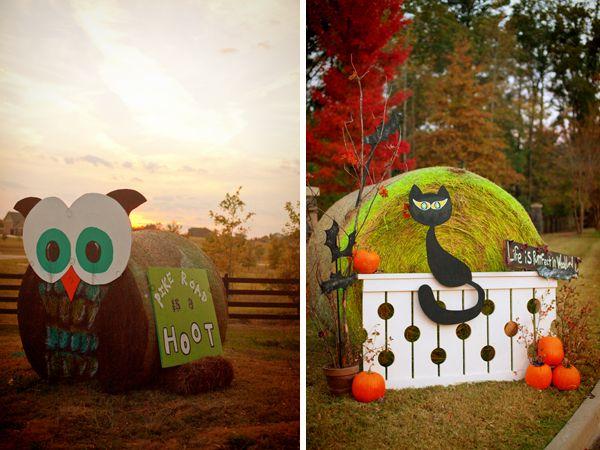 Hay Bale Decorating Owl Cat
