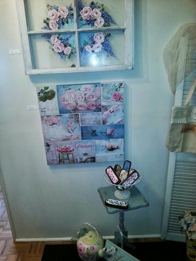 My booth space at Coach House studio.. Had to rearrange this wall as larger wicker shelf blocked the entrance.. much more airy now..