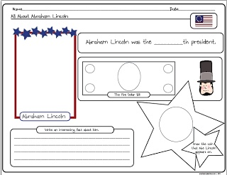Free Abe Lincoln worksheet