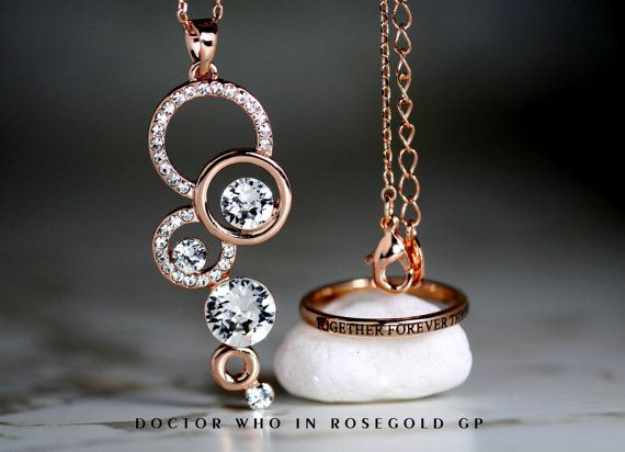 Stunning Doctor Who Hers Tungsten Rose Gold GP 2MM Ring and Doctor Who Inspired Rose Gold gp and Cz Pendant with Chain Gift Set
