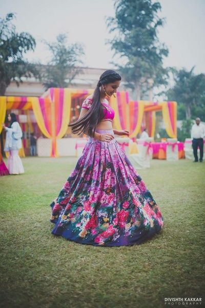 Light Lehengas - Floral Sister of the Bride Outfit | WedMeGood | Floral Lehenga with Pink Fuchsia Choli #wedmegood #indianbride #indianwedding #floral #lehenga #sisterofthebride #sisterofthebrideoutfit