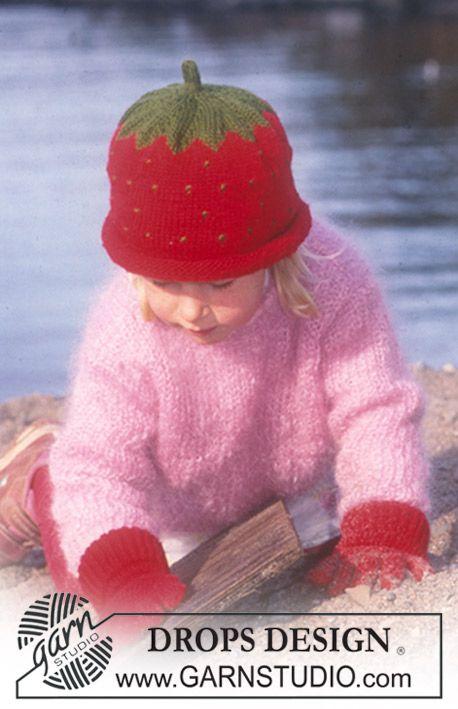 """DROPS Blåbær eller jordbærlue, genser og vanter i """"Karisma Superwash"""" ~ DROPS Design"""