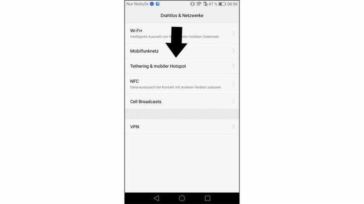 Unter Einstellungen, Tethering & mobiler Hotspot aktivieren Sie bei Ihrem Android-Smartphone den mobilen WLAN-Hotspot.