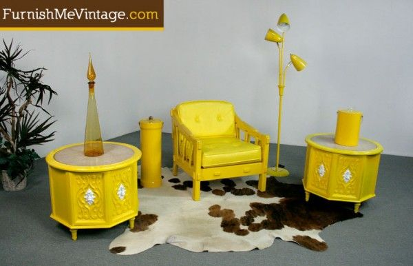 Pair of Retro Yellow Mediterranean End Tables i don't know why i like this....lol