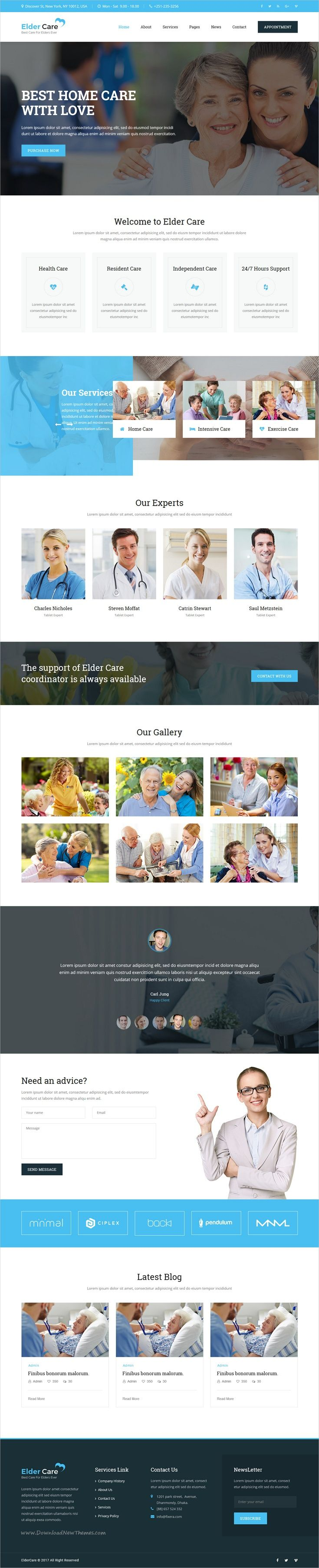 Elder Care is clean and modern design #bootstrap template for #retirement care homes, #senior citizen #accommodation, elderly care services website download now..