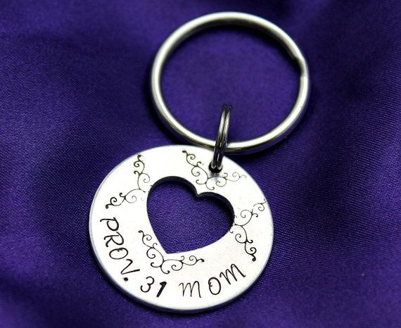 Are you a Proverbs 31 mom? This Christian keychain is for you!    This pretty 1.25 with .65 aluminum heart cutout keychain is perfect for a mother